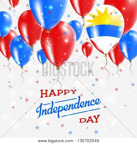 Antigua And Barbuda Vector Patriotic Poster. Independence Day Placard With Bright Colorful Balloons