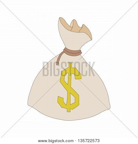 Money bag or sack icon in cartoon style on a white background