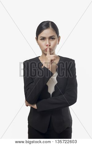 business woman conceal something isolated on white background asian beauty