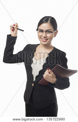 business woman writing isolated on white background asian beauty