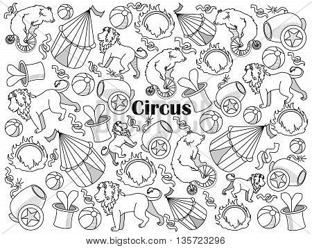Circus design colorless set vector illustration. Coloring book. Black and white line art
