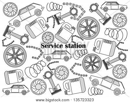 Service station design colorless set vector illustration. Coloring book. Black and white line art