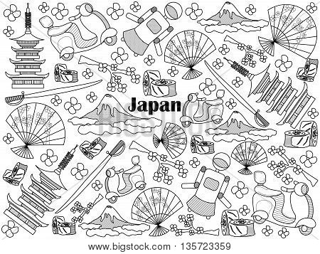 Japan design colorless set vector illustration. Coloring book. Black and white line art