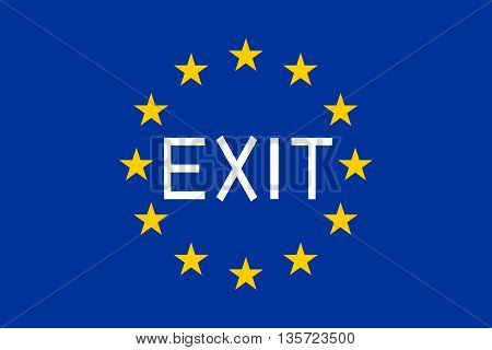 Flag of Europe with the word Exit