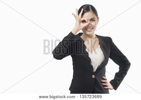 business woman hand okay isolated on white background asian beauty