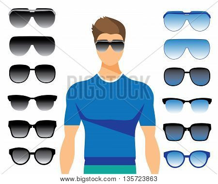 Vector set of different glasses on white background. Retro, vintage, wayfarer, aviator, geek, hipster frames. Man eyeglasses and sunglasses silhouettes.