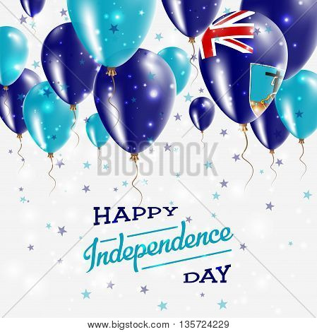 Montserrat Vector Patriotic Poster. Independence Day Placard With Bright Colorful Balloons Of Countr