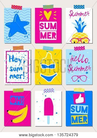 Set of vector bright summer cards with beach elements.