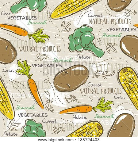 Background with broccoli corn and potato. Ideal for printing onto fabric and paper or scrap booking.