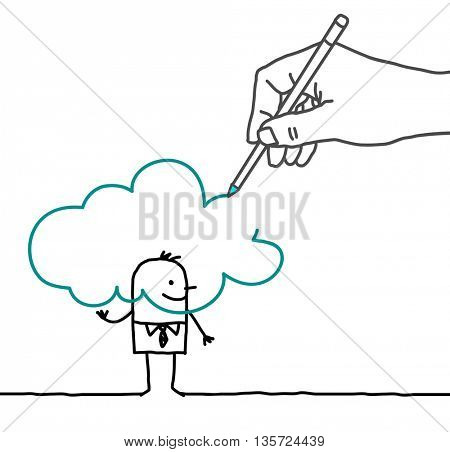 Drawing big hand and  businessman - in the Cloud