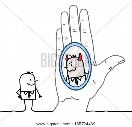 Big hand and businessman - reflection in the mirror