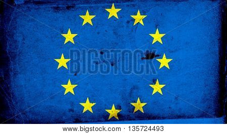 European Union rough, cracked flag. EU disaster, concept of failure of Europe project after brexit