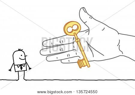 Big hand and  businessman - offering a key