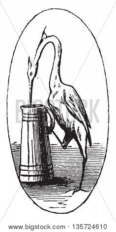 At the crane, vintage engraved illustration. Magasin Pittoresque 1852.
