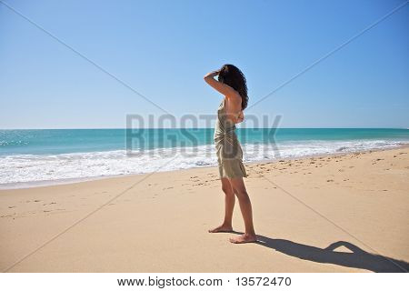 Looking At Ocean In Zahora Beach
