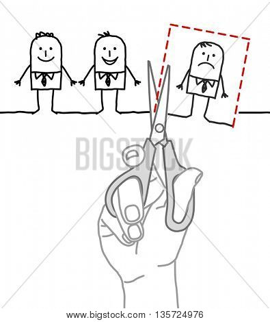 Big hand with characters - cutting and eliminate