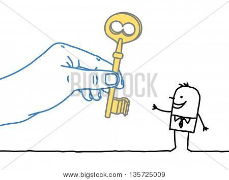 Big hand and  businessman - giving the key