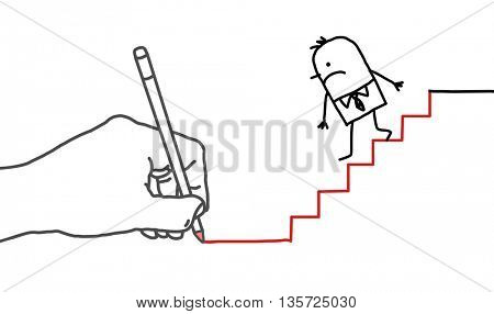 Drawing big hand and  businessman - going down