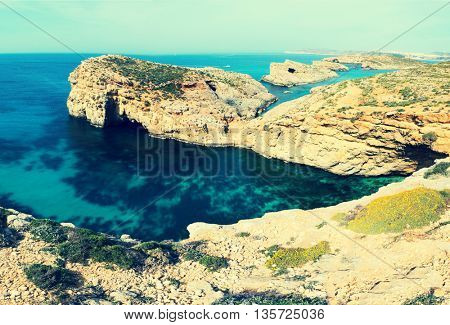 blue lagoon Comino island Malta Gozo. Toned photo