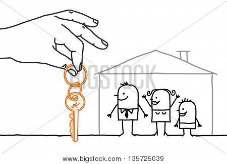Big hand and characters - family with new home