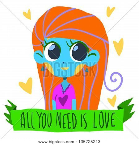 Vector Greeting card for Valentines Day, wedding, games. With cute teen girl and hearts. With love.