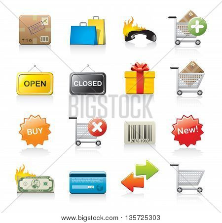 Vector set of 16 shopping icons isolated on white background.