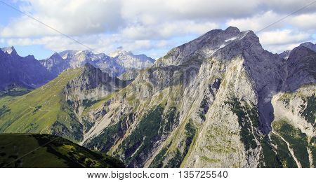 View On A Mountain Face In The Karwendel Mountains In The Alps