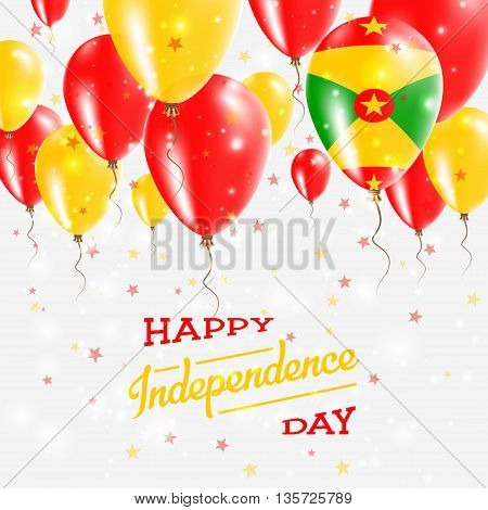 Grenada Vector Patriotic Poster. Independence Day Placard With Bright Colorful Balloons Of Country N