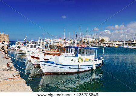 colorful fishing boats near old fortress, Heraklion port, Crete, Greece