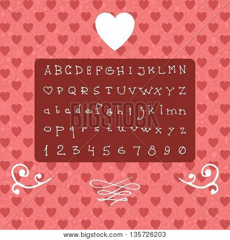 The vector Roman alphabet for ui, web games, tablets, wallpapers, and patterns. Valentine's Day.