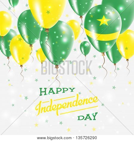 Mauritania Vector Patriotic Poster. Independence Day Placard With Bright Colorful Balloons Of Countr