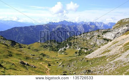 View On A Mountain Valley In The Alps (rofan Mountains)