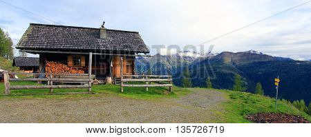 View On A Hunting Lodge In The Austrian Alps