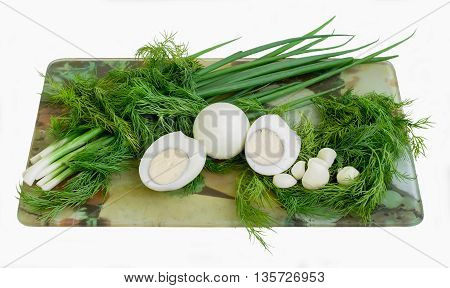 Green onions, fennel and the cooked eggs for salad