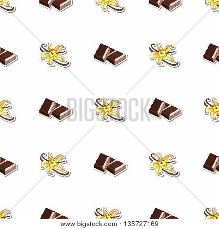 Seamless pattern made from hand drawn chocolate and vanilla on white background. Vector illustration.