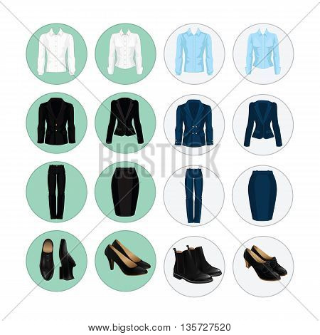 Vector illustration of corporate dress code. Office uniform. Icon with clothes for business people. Pair of black formal shoes.
