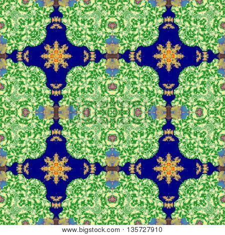 Kaleidoscopic ornamental pattern tile green background texture