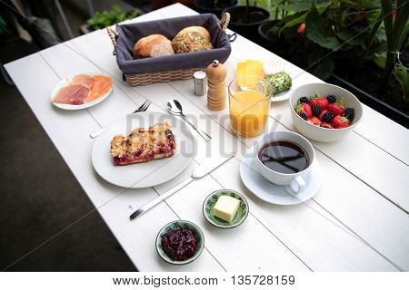 Delicate Breakfast At A White Table
