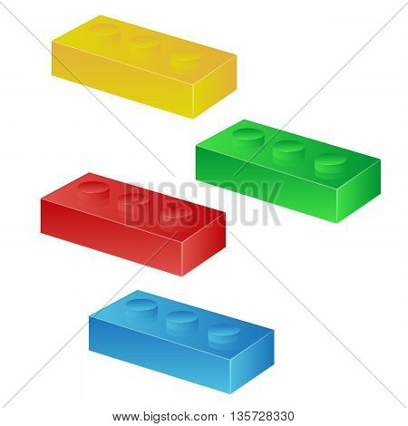 Construction toy cubes. Connector bricks. 3D isometric set eps10