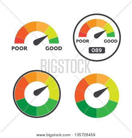 Credit score indicators and gauges vector set eps10