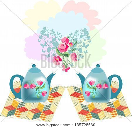 Beautiful vector illustration of two teapots on patchwork napkins and floral heart. Romantic card for Valentines day.