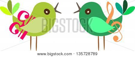 Vector illustration of a bird couple with treble clef and bass clef.