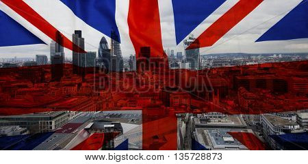 British union jack flag and The city skscrapers in the background - UK votes to leave the EU