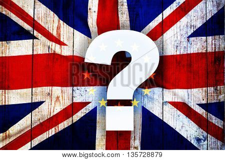 Brexit - what will happen now? British flag on old rugged wooden board and question mark