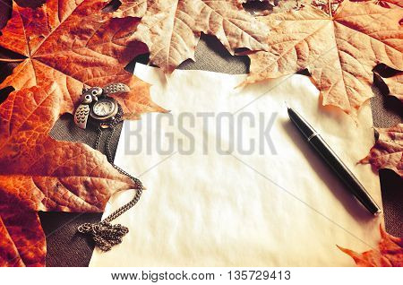 Autumn vintage still life -old paper ink pen on the table among the autumn leaves. Autumn vintage tones processing. Focus at the ink pen.