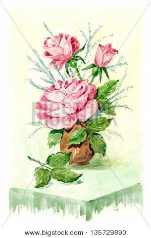 Red roses in a vase watercolor painting