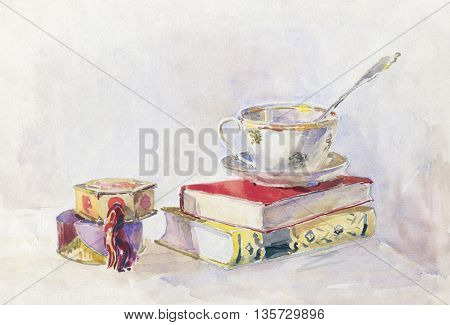 Still life in retro style. Two book tea Cup and powder box. watercolor painting. Illustration