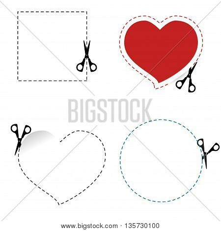 Scissors cut out the shape. The dotted line. Icon scissors cut heart circle square
