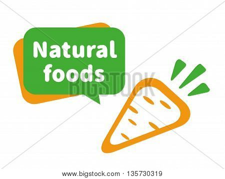 Natural foods illustration. The logo or icon carrots. Carrots isolated on a white background. Illustration of a carrot a Natural foods.