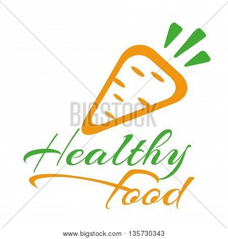 The logo or icon healthy food. Carrots isolated on a white background. Illustration of a carrot, a healthy food.